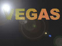 Dotted LED Lit Vegas Sign Glowing Bright Orange Royalty Free Stock Photography