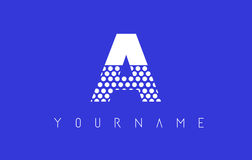 A Dotted Letter Logo Design with Blue Background. Stock Photos