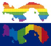 Spectrum Pixel Dotted Panama Map. Dotted LGBT Panama map variants. Vector geographic plans in LGBT rainbow colors with vertical and horizontal directions on royalty free illustration