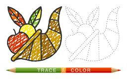 Dotted line and coloring crayon cornucopia icon. Trace and color sign design kids book or adult anti stress coloring page. Art, creativity, print, magazine Royalty Free Stock Photo