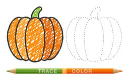 Dotted line and coloring crayon pumpkin stock illustration