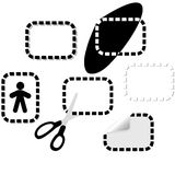 Dotted line design elements. Your pages have continuity & variation with these dotted line design elements: peel; coupon & scissors; icon setting; drop shadows stock illustration