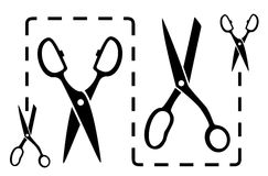 Dotted line with scissors cut Royalty Free Stock Photography