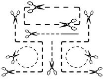 Dotted line set with scissors Royalty Free Stock Photography