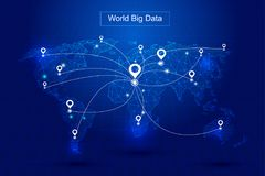 Dotted lines constitute the world map, GPS positioning constitute the world`s big data technology vector background, meaning globa. Lization Royalty Free Stock Photo