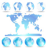 Dotted map and Globes Royalty Free Stock Image