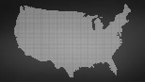 Dotted map of USA,  illustration  on black background.  Royalty Free Stock Photography