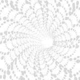 Dotted monochrome pattern. Retro texture in grey color. Tornado or tunnel. 3d abstract dynamic background, black and white. Royalty Free Stock Photos