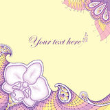 Dotted moth Orchid or Phalaenopsis with decorative lace in pastel colors on the yellow background. Stock Images