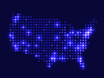 Dotted night map USA Royalty Free Stock Photo