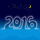 Dotted numbers 2016 with moon and stars on the blue background. Winter greeting card in dotwork style. Concept of the 2016 year. Royalty Free Stock Images