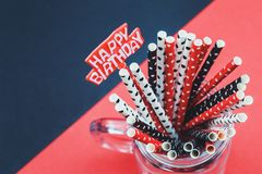 Dotted paper straws background close up royalty free stock image