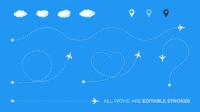 Dotted Paths With Planes, Pointers And Clouds. Vector Shapes With Editable Strokes. Heart, Question, Direct And Rounded Royalty Free Stock Photos