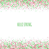 Dotted pattern with inscription hello spring. Green and pink dots of various size on the white background. Royalty Free Stock Images