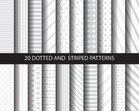 20 dotted patters. 20 striped and dotted patterns, , vector, Textures for wallpaper, fills, web page background, surface Royalty Free Stock Photos
