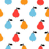 Dotted pear seamless blue and red pattern on white. Royalty Free Stock Image