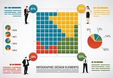 Dotted percentage presentation template. With 100 fields and silhouettes of business people stock illustration