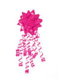Dotted pink gift bow Stock Image
