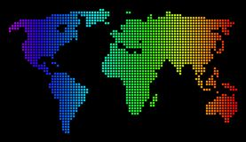 Dotted Pixel Spectrum World Map Royalty Free Stock Photo