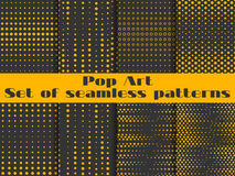 Dotted, Pop Art seamless pattern background. Black and orange color. Stock Photography