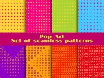 Dotted, Pop Art seamless pattern set. Halftone background with dots. Vector vector illustration