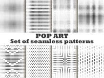 Dotted, Pop Art Seamless Pattern Set. Halftone Dots Background. Black And White Color. Vector Royalty Free Stock Image
