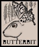 Dotted rabbit drawing with butterfly wings royalty free illustration