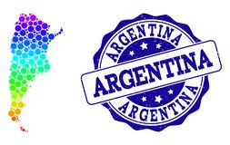 Dotted Rainbow Map of Argentina and Grunge Stamp Seal stock illustration