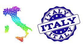 Dotted Rainbow Map of Italy and Grunge Stamp Seal royalty free illustration