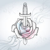 Dotted rose flower and dagger on the textured gray background with swirls. Symbolic tattoo with floral elements in dotwork style Royalty Free Stock Photo