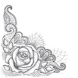 Dotted rose with leaves and decorative lace in black  on white background. Royalty Free Stock Image