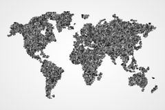 Dotted round world map. Abstract vector illustration. Royalty Free Stock Image