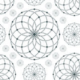 Dotted seamless pattern with circles and nodes Royalty Free Stock Photos