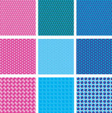 Dotted seamless pattern. Set of 9 spotted abstract texture background Stock Images