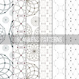 Dotted seamless patterns with circles and nodes Royalty Free Stock Photo