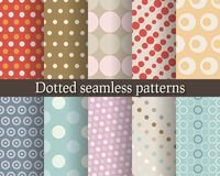 Dotted seamless patterns set Royalty Free Stock Image