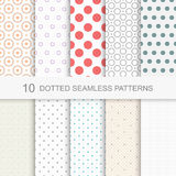 10 Dotted seamless vector patterns. Set of dotted seamless patterns, funny repeated backgrounds Stock Photos