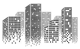 Dotted Skyscrapers Panorama Royalty Free Stock Photo