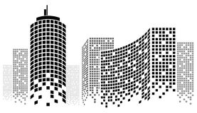 Dotted Skyscrapers Panorama Stock Photos