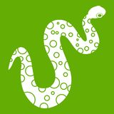 Dotted snake icon green. Dotted snake icon white isolated on green background. Vector illustration Royalty Free Stock Photos