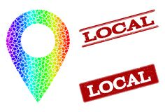 Dotted Spectrum Local Place and Grunge Stamp Seals royalty free illustration