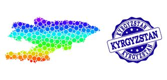 Dotted Spectrum Map of Kyrgyzstan and Grunge Stamp Seal vector illustration