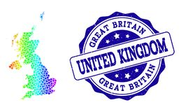 Dotted Spectrum Map of United Kingdom and Grunge Stamp Seal royalty free illustration