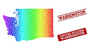 Dotted Spectrum Map of Washington State and Grunge Stamp Seals vector illustration