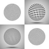 Dotted sphere. Abstract 3D background. Set of vector spheres wit. H different sizes of dots. Techno design globe element isolated on white and gradient Stock Photo