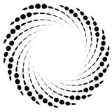 Dotted spiral element. Concentric swirling circles. Geometric ab. Stract illustration - Royalty free vector illustration Royalty Free Stock Images