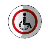 Dotted sticker with avatar sitting wheelchair Stock Images