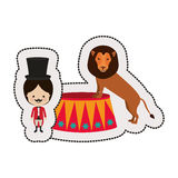 Dotted sticker circus ceremony master with lion Royalty Free Stock Photos