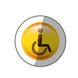 Dotted sticker with person sitting wheelchair Stock Photos