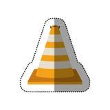 Dotted sticker striped traffic cone degrade. Vector illustration Stock Photo